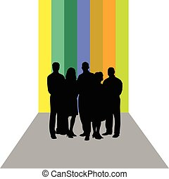 business people vector silhouette on colorful