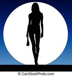 girl sexy on a moonlight color vector