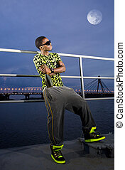 rapper on quay in the bright of the moon - blacky rapper on...