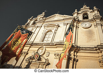 Cathedral in Mdina, Malta - Cathedral in historical town...