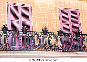 Colorful Balcony - Mdina, Malta - Historical town Mdina,...