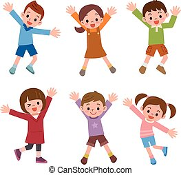 Set of children laughing jump