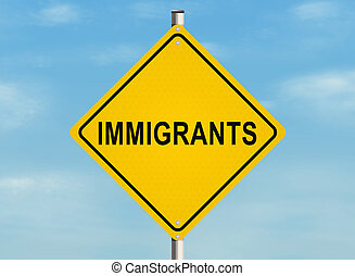 Immigrants. Road sign on the sky background. Raster...