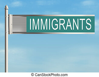 Immigrants Road sign on the sky background Raster...