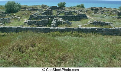Archaeological excavations ruins of ancient Greek settlement Belyaus