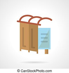 Bus station flat vector icon - Flat color design simple...