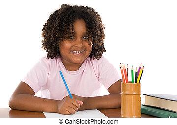 adorável, africano, menina, escrita
