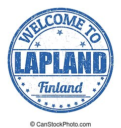 accueil, à, Laponie, timbre,