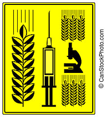 Genetically Modified Wheat - Concept sign for grain with...