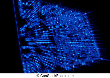 See through circuit board with blue rays of light