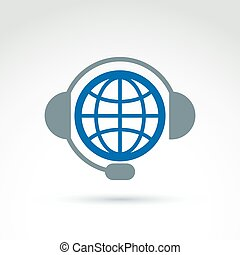 World on the air, call center, information collecting and exchange theme icon, vector conceptual unusual symbol for your design.