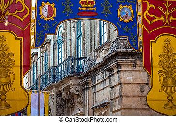 Balcony at building - Mdina, Malta - Town Mdina, Malta