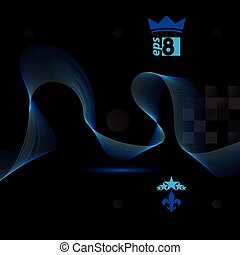 3d vector decorative background with curved transparent...