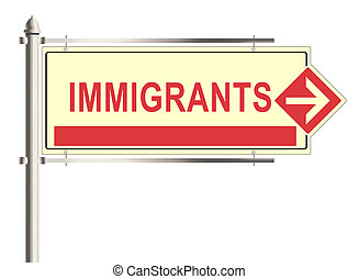 Immigrants. Road sign on the white background. Raster...