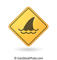 Awareness sign with a shark fin - Illustration of an...