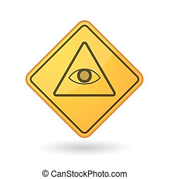 Awareness sign with an all seeing eye - Illustration of an...