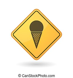 Awareness sign with  a cone ice cream