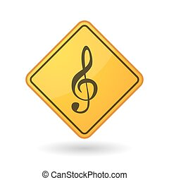 Awareness sign with a g clef - Illustration of an awareness...