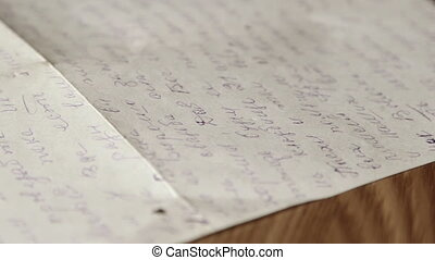 Vintage cursive russian personal letter close-up dolly shot