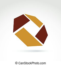Abstract 3D  icon, abstract symbol, vector graphic design element.