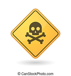 Awareness sign with  a skull