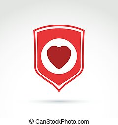 Red heart placed on a shield. Vector society donation symbol, compassion and love sign. Life insurance symbol isolated on white background. Save life social icon.