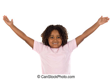 African girl with her arms outstretched a over white...