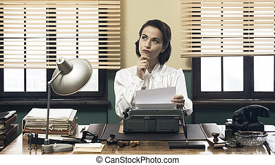 Pensive secretary with typewriter - Pensive vintage woman...