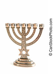 Hanukkah menorah - jewish holiday Hanukkah background with...
