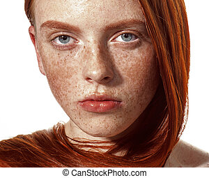 Beautiful ginger girl with clean skin. Red lips - Ginger...
