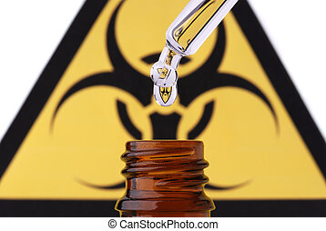 Bio hazard pipette drop and bottle - Bio hazard symbol in...