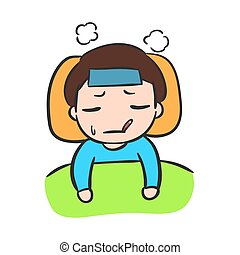 Little Boy Sick Vector Stock