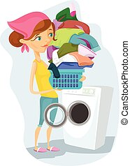 Housewife washes. Vector flat cartoon illustration