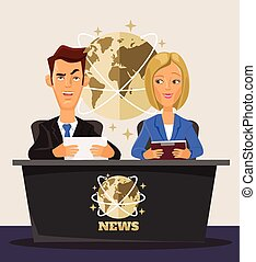 TV News. Vector flat cartoon illustration