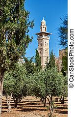 Minaret over the Temple Mount in Jerusalem