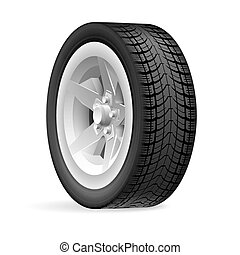 Wheel - Car wheel isolated on a white background
