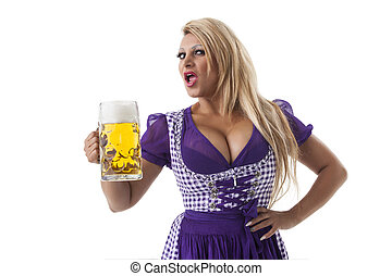 bavarian woman in a dirndl on white