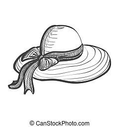 doodle woman hat, excellent vector illustration, EPS 10