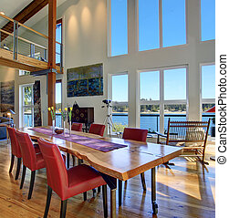 Luxury dinning area with large table and windows. - Luxury...