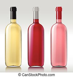 Set of realistic glass bottles - Realistic with glass...