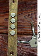 door lock - top view of the door lock