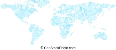 Digital blue world map is shining diamond triangles style. Vector illustration.