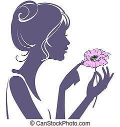 Pretty young girl with a pink poppy flower. Silhouette of the head and hands