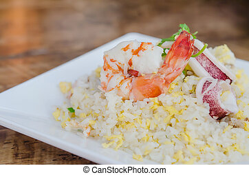 seafood fried rice - close up Fried rice with shrimp and...