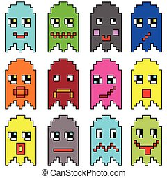 Pixelated emoticons inspired by 90 - Pixelated emoticons...