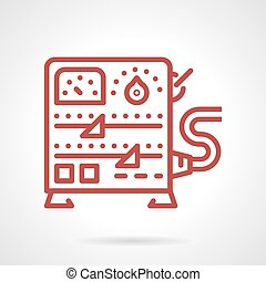Power supply equipment line vector icon - Flat red line...