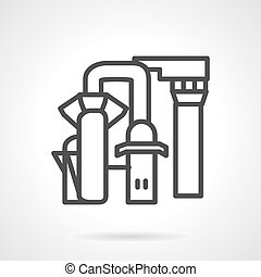 Desalination station line vector icon - Simple line design...