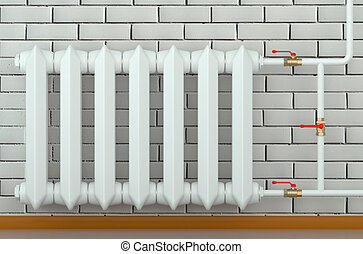 cast iron radiator at home isolated on white background