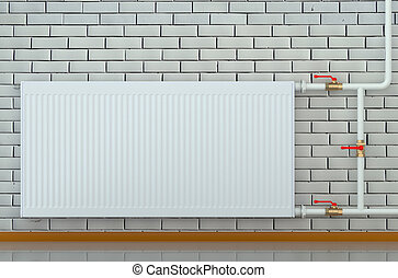 eco radiator in a room isolated on white background