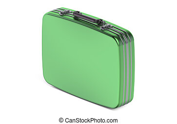 green suitcase isolated on white background